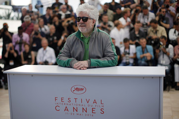 """Director Pedro Almodovar poses during a photocall for the film """"Julieta"""" in competition at the 69th Cannes Film Festival in Cannes"""