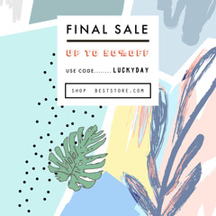Creative Social Media Sale header or banner with discount offer. Design for seasonal  clearance. It can be used in advertising, web design, graphic design. Vector