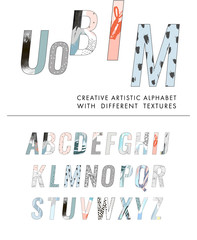 Vector Hand Drawn Artistic Alphabet . Letters with different textures. Typeface. Font. Isolated