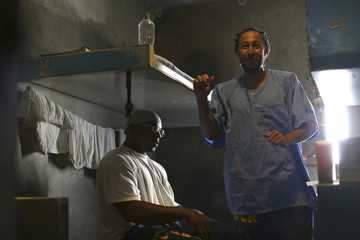 Inmates Anderson and Starks are shown in their cell at Corcoran State Prison in California