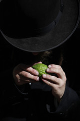An ultra-Orthodox Jewish man checks etrog, a citrus fruit, for blemishes in Jerusalem, ahead of Sukkot