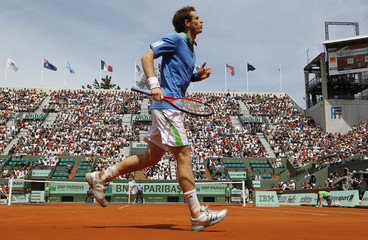 Murray of Britain reacts during his match against Berrer of Germany at the French Open tennis tournament at the Roland Garros stadium in Paris