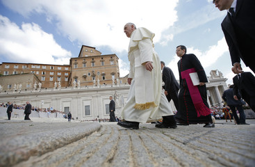 Pope Francis arrives to lead Wednesday general audience in Saint Peter's square at Vatican