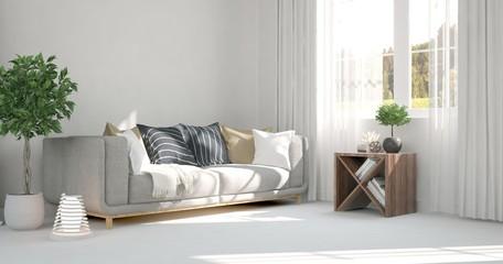 Minimal interior design inspiration with sofa. Scandinavian style idea. 3D illustration