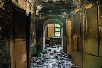 Interior of the old burnt mansion, Astrakhan