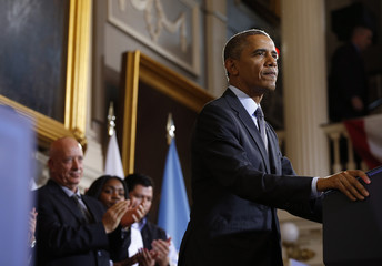 U.S. President Barack Obama speaks about health insurance at Faneuil Hall in Boston