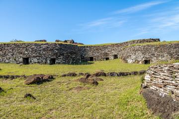 Brick houses at the ruins of Orongo Village at Rano Kau Volcano - Easter Island, Chile