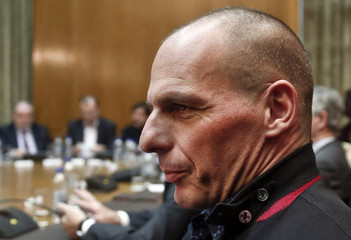 Greek Finance Minister Varoufakis attends the first meeting of the new cabinet in the parliament building in Athens