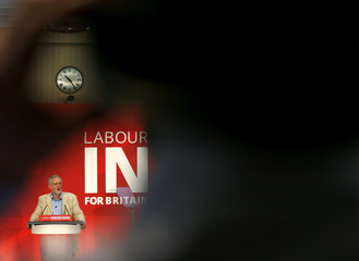 Britain's opposition Labour Party leader Jeremy Corbyn gives a speech on Britain's membership of the European Union in London