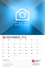 Wall Calendar Planner for 2018 Year. December. Vector Print Template with Place for Photo. Week Starts on Sunday. 2 Months on Page