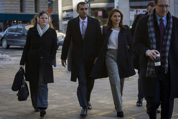 Former SAC Capital portfolio manager Martoma arrives with his wife Rosemary at the Manhattan Federal Courthouse in downtown Manhattan