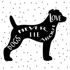 Dog silhouette pictures with hand drawn lettering.