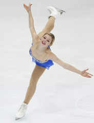 Gold of the U.S. performs during the ladies free program at the ISU Grand Prix of Figure Skating Rostelecom Cup in Moscow