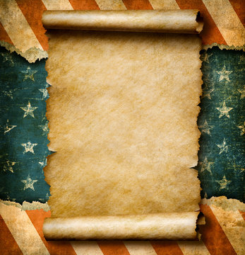 Grunge blank paper scroll or parchment over USA flag independence day template 3d illustration