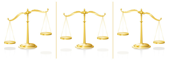 Scale - balanced and unbalanced pans - equal and unequal weightiness - isolated vector illustration on white background.