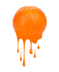 Fresh mandarine with splashes and drops of paint, isolated on white background