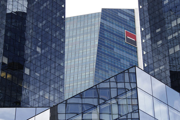 The geometric glass and steel buildings are seen at headquarters of French bank Societe Generale at La Defense, west of Paris