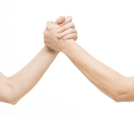 2 hands are compressed as in arm wrestling