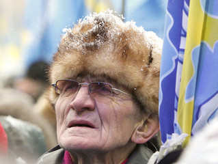 A man attends a rally to support Ukrainian presidential candidate Viktor Yanukovich in Kiev