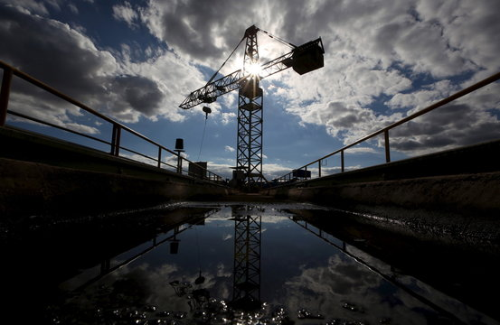 A crane at the top of the water tower holding water meant for the Cantareira system is pictured at the Jaguari dam in Joanopollis