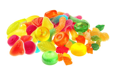 Fototapete - Tasty and colorful jelly candies on white background