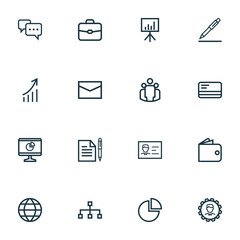 Job Outline Icons Set. Collection Of Agreement, Id Card, Briefcase And Other Elements. Also Includes Symbols Such As Sign, Circle, Letter.