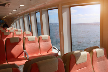 Ferry over Bosporus in Istanbul, Turkey.