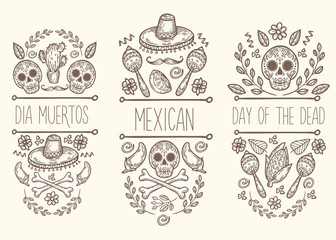 Mexican sketch doodle collection, vector hand drawn label elements. Skull, sugar skull, sombrero, chili, cactus, lime, lemon, moustaches, bones. Native traditional attributes.