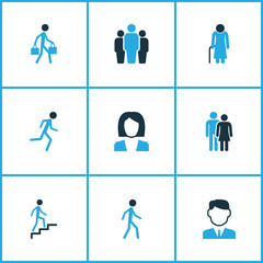 Person Colorful Icons Set. Collection Of Lover, Business, Worker And Other Elements. Also Includes Symbols Such As Company, Fitness, Businessman.