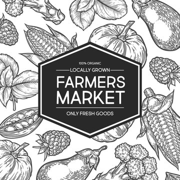 Farmers market shop organic food vector hand drawn template packaging food, label, banner, poster, identity, branding. Stylish design with sketch illustration of farmer market. Local organic food shop