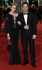 Mark Ruffalo and his wife Sunrise Coigney arrive at the British Academy of Film and Television Arts (BAFTA) Awards in London