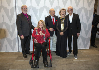 "Filmmaker and comedian Brooks poses with film critic Maltin, actresses Garr and Leachman and producer Gruskoff at a 40th anniversary screening of ""Young Frankenstein"" in Beverly Hills"