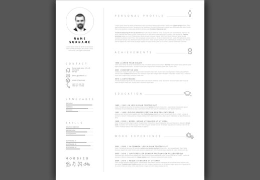 Gray and White Minimalist Resume Layout