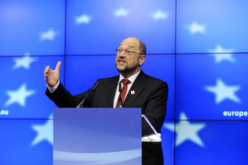 European Parliament President Martin Schulz holds a news conference during a European Union summit in Brussels