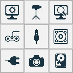 Computer Hardware Icons Set. Collection Of Music, PC, Laptop And Other Elements. Also Includes Symbols Such As Laptop, Video, Movie.
