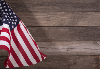 American Flag on a Rustic Wooden Background