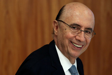 Brazil's Finance Minister Henrique Meirelles smiles during a news conference, at the Planalto Palace in Brasilia