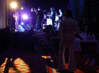 Finalist performs during the annual European Elvis Tribute Artist Contest and Convention in Birmingham, central England