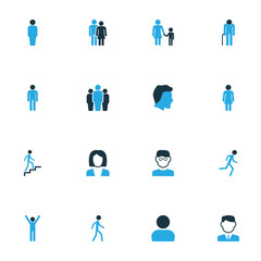 Human Colorful Icons Set. Collection Of Business, Clever, Worker And Other Elements. Also Includes Symbols Such As Walk, Head, User.