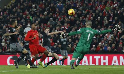 Liverpool's Daniel Sturridge shoots over