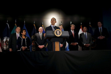 U.S. President Barack Obama delivers a statement at the National Counterterrorism Center in Mclean