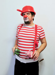 Professional performer 'Dr. Zivalski', a member of the Red Noses clown doctors poses in home for the elderly in Izola