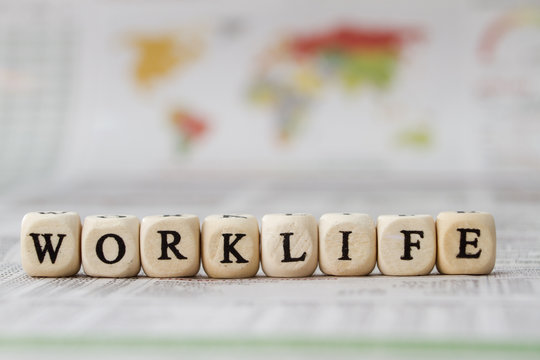 worklife word built with letter cubes