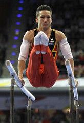 Nguyen of Germany competes on parallel bars at men's apparatus finals during the Artistic Gymnastics European Championships in Berlin