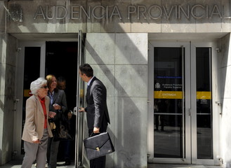 Relatives of Spain's Queen Letizia, grandmother Maria del Carmen Alvarez del Valle and aunt Henar Ortiz, leave after appearing in court for a lawsuit against them on charges of concealing assets in Oviedo
