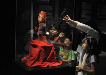 "Children listen to a guide while looking at a plastinated human lung at the ""Body Worlds"" exhibition by Gunther von Hagen in Tegucigalpa"