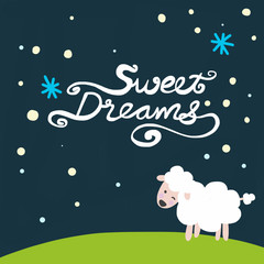 Sweet dreams word on night sky and sheep cartoon illustration