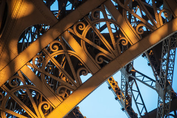 Arch structure Eiffel Tower Tour Eiffel blue sky steel structure in evening sunset sun