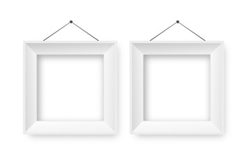 Vector realistic isolated white frames on the transparent background for decoration and corporate identity design.