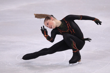 Lipnitskaia of Russia performs her ladies short program at the Bompard Trophy ISU Grand Prix of figure skating competition in Paris